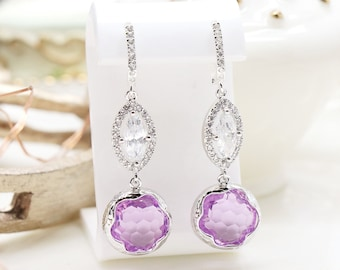 Silver color earrings with crystal