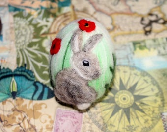 Easter Egg, Needle felted egg, Spring Ornament, Needle Felted Easter Egg bunny , Felted gray bunny, Spring decoration, Spring gift idea