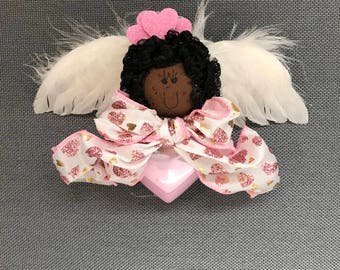 Valentine Angel Pink Heart Ornament - Black