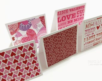 Handmade Valentine Coworker Gift Valentines Day Card 10  Red Pink Valentine 3 Inch Envelopes Mini Note Cards   Lunchbox Blank Mini Cards