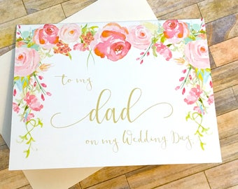 To My Dad On My Wedding Day Wedding Card for Father, Vintage Daddy's Little Girl, For My Papa, Dad Wedding Day Card, Father of the Bride