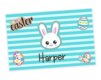 Easter Personalized Placemat - Easter Emoji Bunny Eggs Stripes with Name, Customized Laminated Placemat