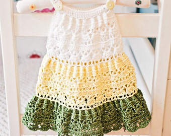 Crochet dress PATTERN  - Crochet Tiered Dress (baby, toddler, child sizes),