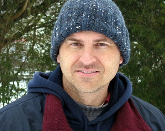 Mens winter wool hat - hand knit from dark blue wool, cap