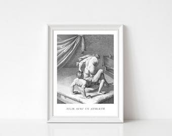 Erotic Print, Engraving Print, Agostino Carracci, Julie with an Athlete, 16th Century, Digital Download, Erotic Wall Art, Bedroom Decor