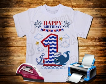 Happy First Birthday Card in sailor style. For transfer on a t-shirt.
