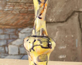 Bud Vase  Shaped Multi-Directional Abstract color Design Large Vase Mid Century Modern  Art Pottery Vintage