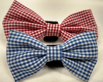 Red or Blue Gingham - Bow Tie or Flower