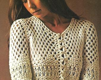 Macrame pattern, women's, ladies, beaded jacket, size adaptable, pdf, digital download, instant download