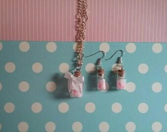 Set floral fairy jar / fairy flask Set