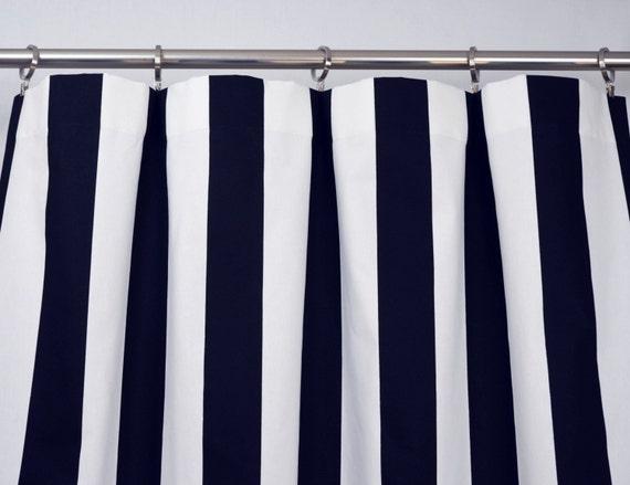 Navy Blue White Modern Vertical Stripe Curtains Rod Pocket