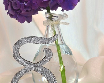 GLITTER table numbers ( set of 10 ) silver glitter wooden table numbers - rustic wedding - table numbers wedding - silver table numbers