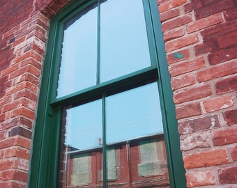 Red Bricks Green Window - Wall Decor - Fine Art Photography Print - Red, Pink, Brick, Rustic, Toronto, Distillery District, Reflection