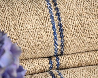 R 308/A antique hemp BRIGHT BLUE upholstery 4.59 yards handloomed STAIRUNNER benchcushion Beachhouse look