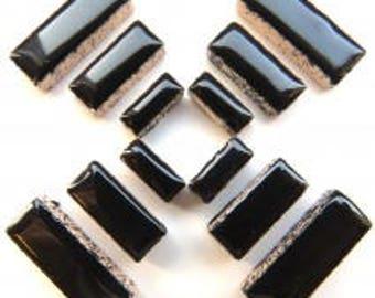 Black Glazed Ceramic RECTANGLES (3 sizes a set)//Border Tiles//Mosaic Tiles//Craft Supplies//Mosaic Pieces