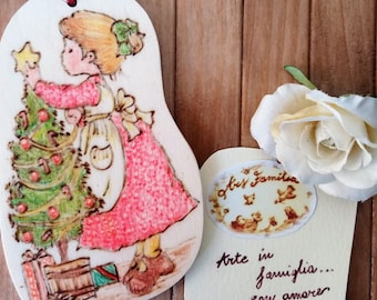 Wooden Christmas decoration Sarah Kay (Girl with star and tree)-Pirografata and coloured