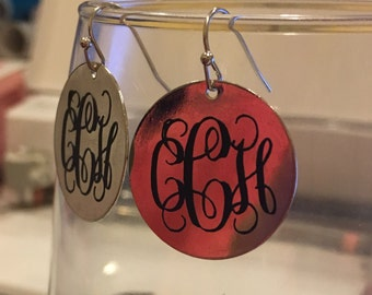 Silver/Gold toned monogrammed earrings