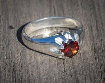 Precision Cut Red Garnet Silver Ring Genuine Rhodolite Garnet Ring Master Faceted Gemstone Ring