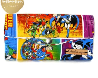 Womens DC Superhero Wallet - Necessary Clutch Wallet - Wonder Woman - Batgirl - Supergirl - Geeky Gifts - Fabric Wallets for Women