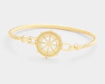 Ship Wheel Metal Hook Gold-Plated Bangle Bracelet, Thank You Gift, Birthday Gift, Graduations Gift