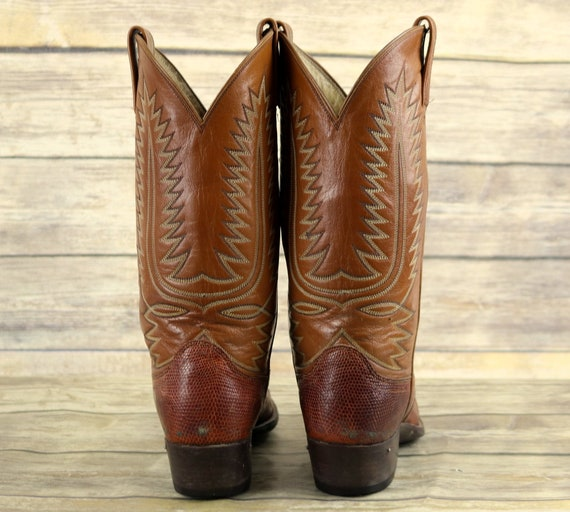 Western Brown Post B Boots Size Mens Cowboy 10 Vintage Narrow Lizard Leather Dan p6PzqtwP