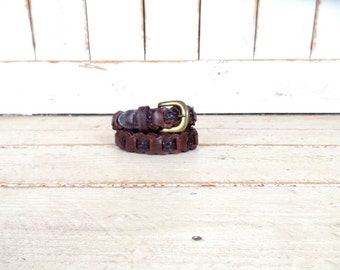 Brown leather braided chord woven vintage skinny belt/woven leather boho belt/braided vintage belt/medium