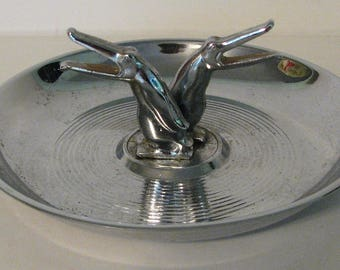 Art Deco Pincherette Penquins Ashtray Chrome