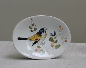 "Vintage Fitz and Floyd ""Oiseau"" Oval Bird and Bee Soap Dish"