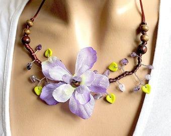 Purple floral necklace branch Brown satin