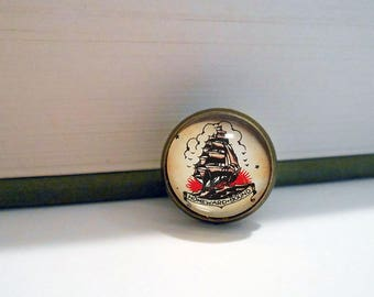 Tattoo Ship Nautical Pin Brooch Tie Tack Vintage Style Bronze