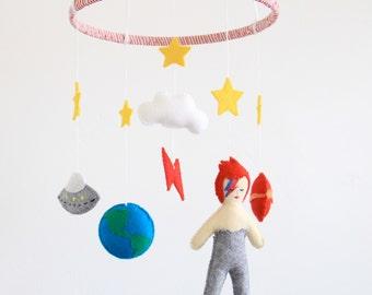 Ziggy Stardust Crib Mobile/ David Bowie Baby Gift/ Alladin Sane Nursery Accessory