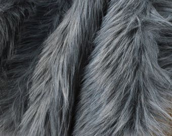 Gray Wolf Fur Craft Squares- Fake Wolf Fur, Gray Fur Fabric, Gray Fursuit Fur, Faux Wolf Fur