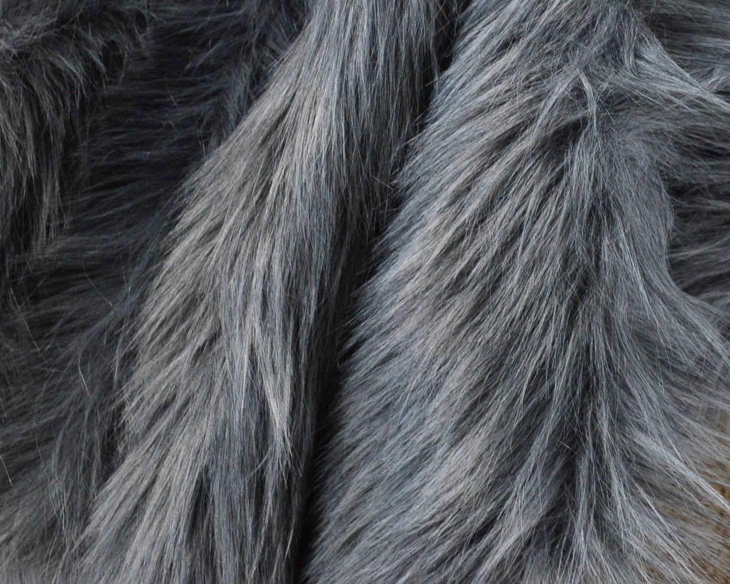 Gray Wolf Fur Craft Squares Fake Wolf Fur Gray Fur Fabric