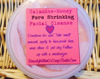 Calamine Honey & Baking Soda Pore Shrinking Facial Cleanse Clears Blemishes Calms Protects