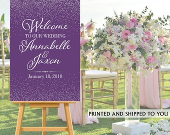 Welcome to Our Wedding Sign - Purple and Silver Sparkle Bride & Groom Sign- Reception Sign Printed Wedding Ceremony Sign