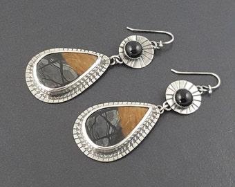 Picasso Jasper Earrings, sterling silver, silver brown gray black, dangle earrings, black onyx, stamped earrings, michele grady,