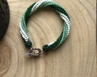 Ombre Green and White Spiral Bracelet / Twisted Tubular Herringbone Woven Bracelet