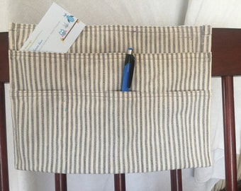 Bed Headboard Pillow Tick REMOTE Control CADDY Tabs Canvas 7 Compartments, New Design