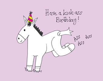Have A Kick Ass Birthday! Donkey Birthday Card