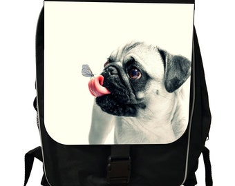 Pug Puppy Dog and a Butterfly - Black School Backpack