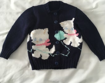 Kittens playing with Yarn Cardigan Sweater size 2