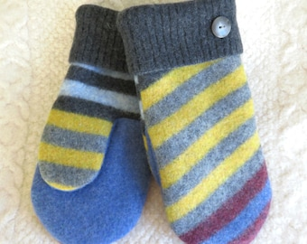 Size Large/ or Men's Size, Wool Mittens, in Gray, Yellow and Blue Stripes, Eco Friendly Felted Wool Mittens