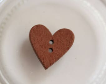 Buttons wood Brown heart