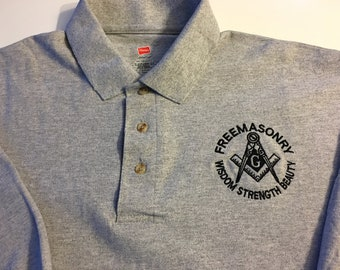 Masonic Polo Shirt with Square and Compass [Wisdom,Strength and Beauty] Logo