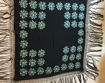 Antique Victorian Edwardian Black Blue Gold Embroidered Silk Fringed Piano Shawl Throw Table Bed Cover
