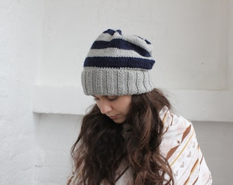 Slouchy knit hat, mens winter hat, Slouchy beanie, Winter hat, beanie men, Womens winter hat, Wool beanie, Grey striped hat