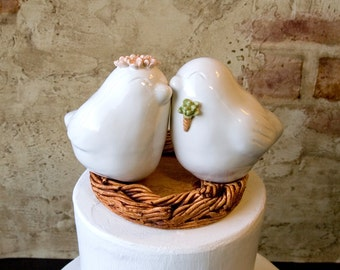White Love Birds with Succulent Boutonniere and Flower Crown