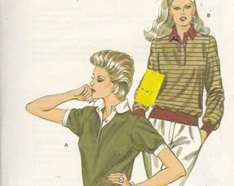 Uncut Kwik Sew Pattern 1232 - MISSES TOP / SHIRTS with Collar - Sz xs s m l