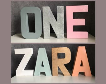 Personalised Free Standing Nursery Letter Name // Plain Glitter //Birthday Party, Room
