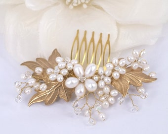 Morning Glory - Vintage Style Freshwater Pearl,matte gold leaves Bridal Comb
